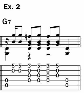 """Musical example 2 depicts the bass-driven style used by Robert Johnson in """"Terraplane Blues"""""""