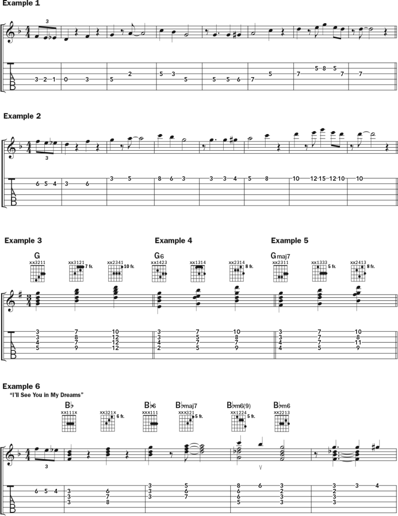 Acoustic guitar chord-melody lesson music notation page 1