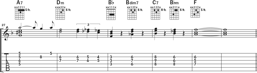 Acoustic guitar chord-melody lesson music notation page 4