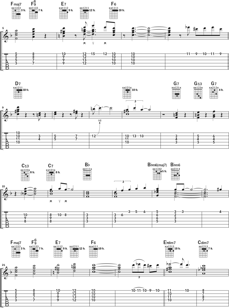 Acoustic guitar chord-melody lesson music notation page 2
