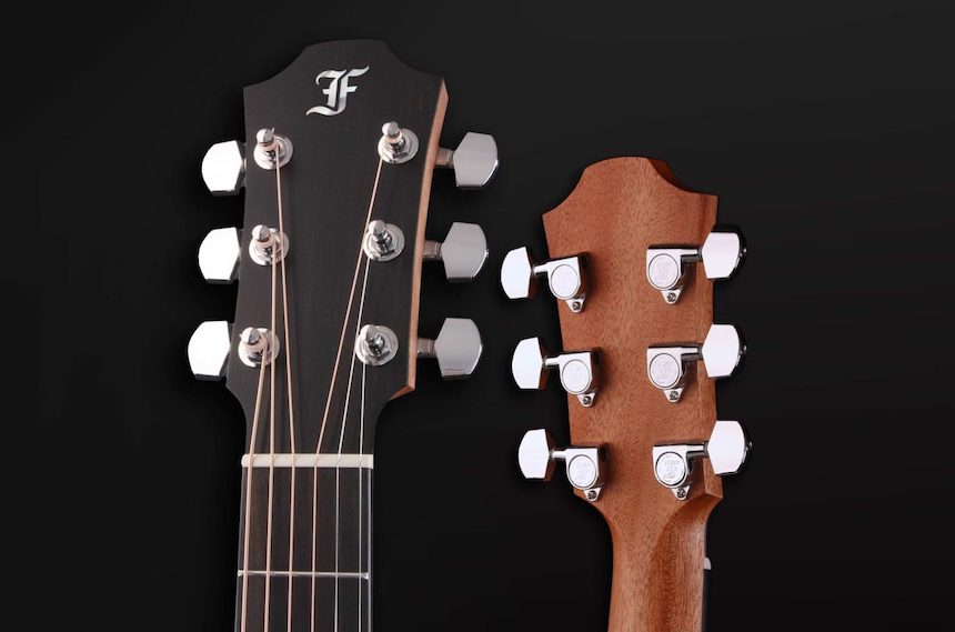 Furch Blue MM acoustic guitar headstock front and back