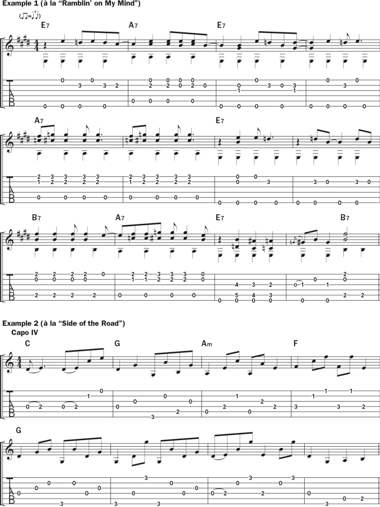 Lucinda Williams examples 1 and 2 musical notation and tab in the style of Ramblin on My Mind and Side of the Road.