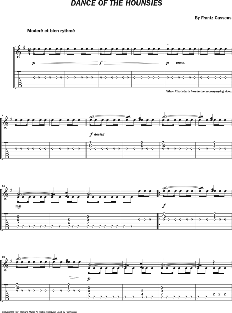 """notation and tablature for the solo guitar arrangement of """"Dance of the Hounsies,"""" a Haitian classical masterpiece by guitarist-composer Frantz Casseus"""