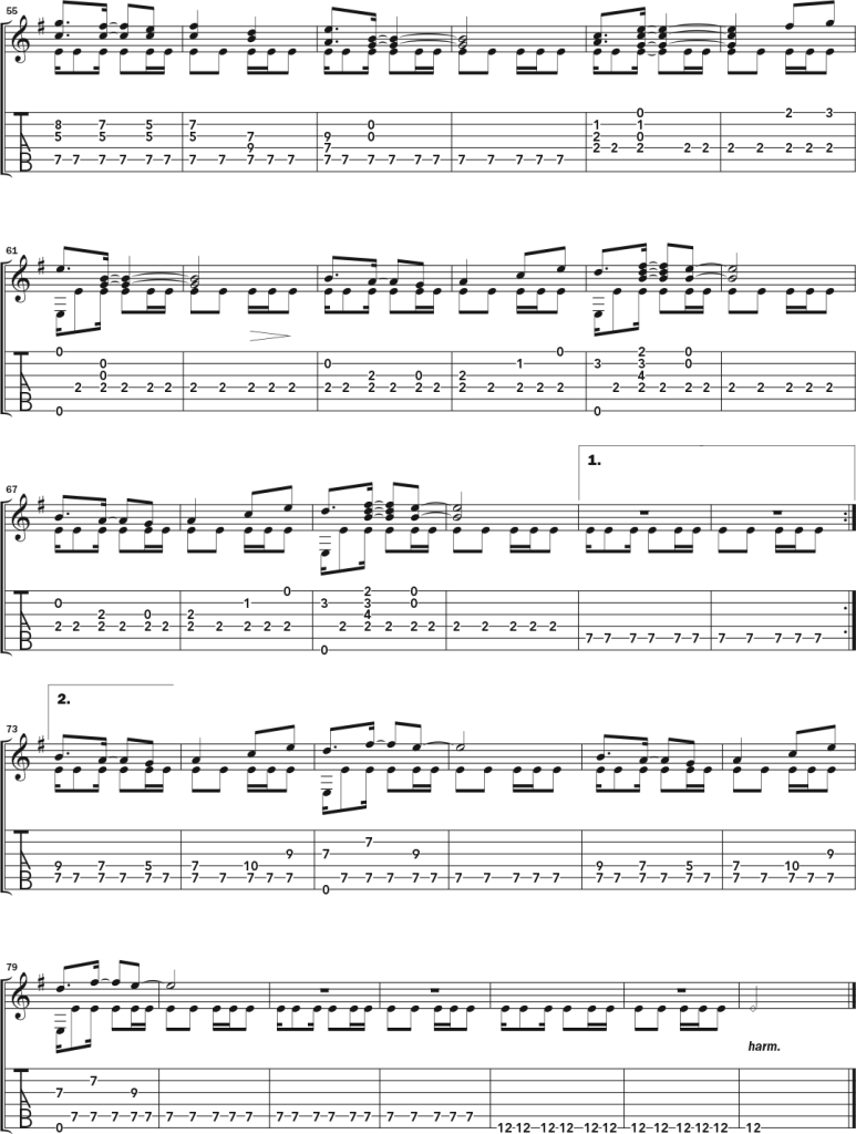 """notation and tablature for the solo guitar arrangement of """"Dance of the Hounsies, page 3"""