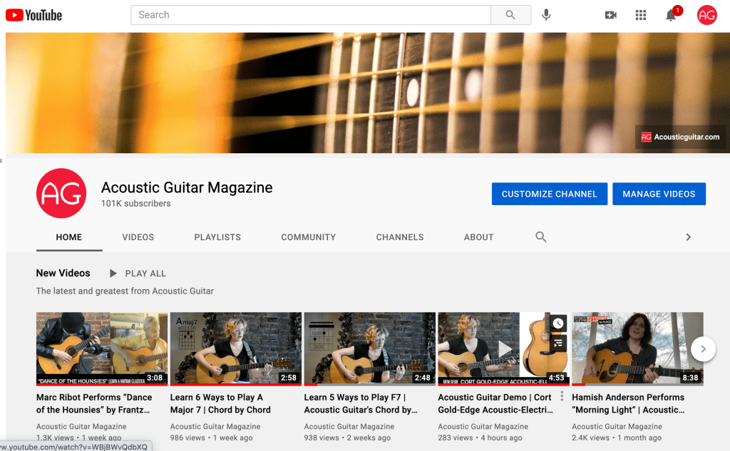 Acoustic Guitar magazine's YouTube channel