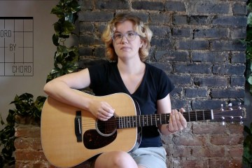 Acoustic Guitar and chord by chord contributor Kate Koenig seated with guitar