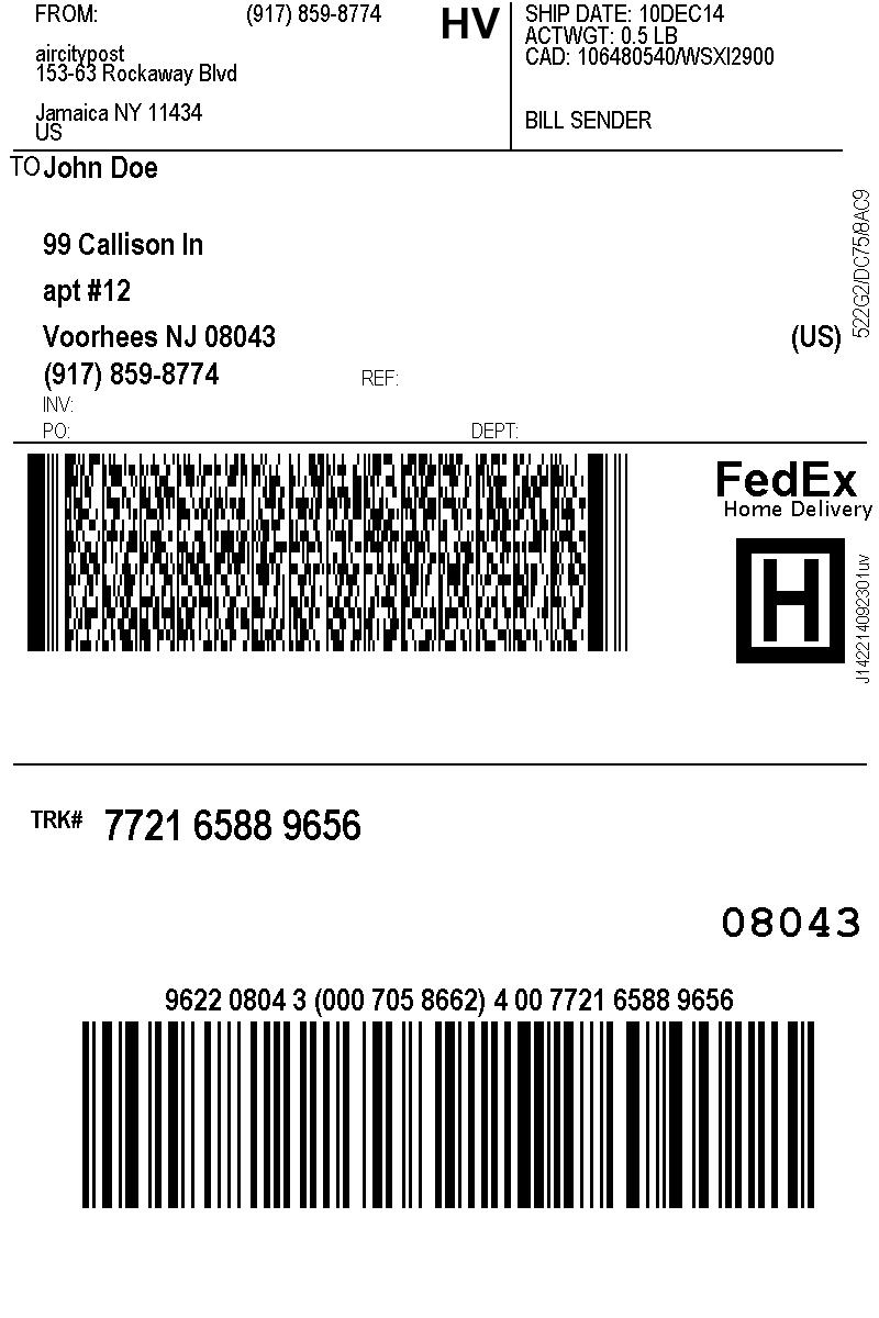 Bill Sender Fedex : sender, fedex, Fedex, Label, Sender, Labels, Database