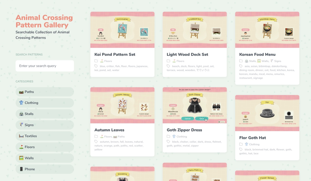 Animal Crossing Pattern Gallery Custom Designs Searchable