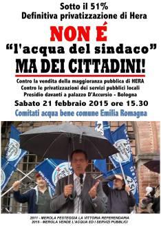 """Non è """"l'acqua del sindaco"""" ma dei cittadini! - Contro la vendita della maggioranza pubblica di HERA"""