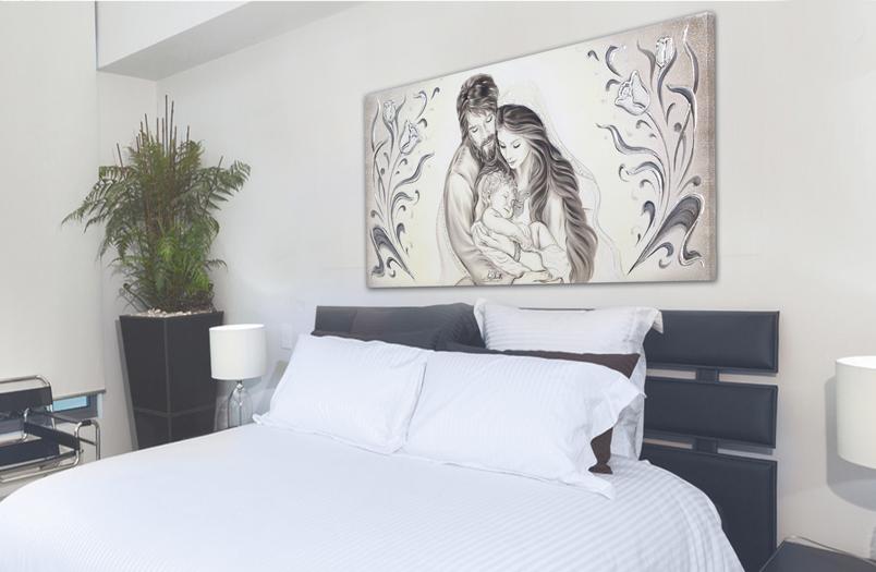 quadri moderni religiosi dipinti a mano madonna con bambino per camera da letto. Capezzale Quadro Moderno Su Tela Sacro Sacra Famiglia Madonna Con Banbino E San Giuseppe