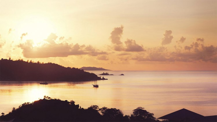 Lovely sunset at Anse Lazio view from the Raffles Seychelles hotel