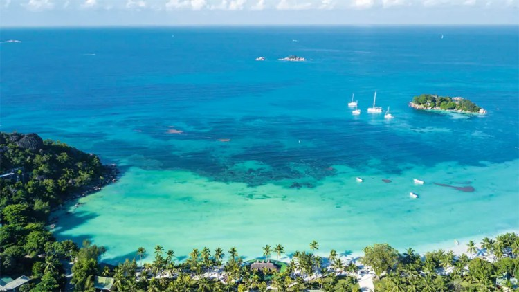 Aerial view of Anse Volbert Beach and Paradise Sun hotel in the Seychelles