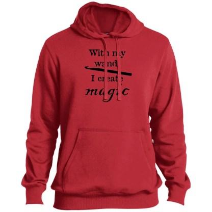 Crochet hook magic wand pullover hooded sweatshirt