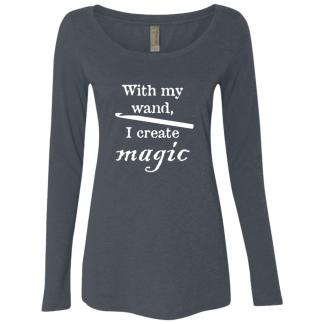 Crochet hook magic wand triblend long sleeve scoop t-shirt