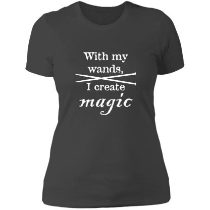 Knitting needles magic wands boyfriend t-shirt