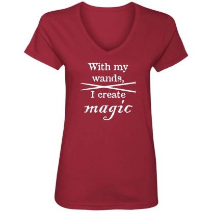 Knitting needles magic wands V-Neck T-Shirt