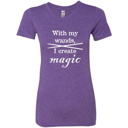 Knitting needles magic wands triblend t-shirt