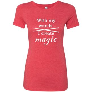 Knitting needles magic wands triblend t-shirt