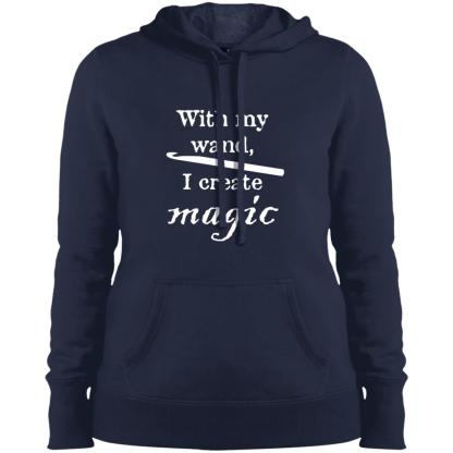Crochet hook magic wand pullover hooded sweatshirt