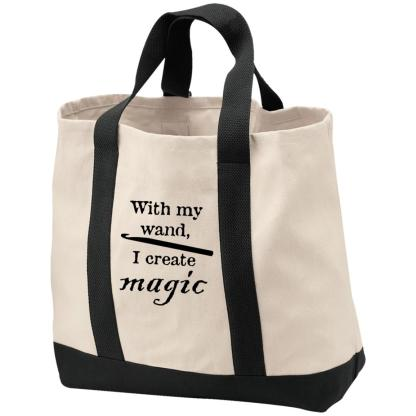 Crochet hook magic wand tote bag
