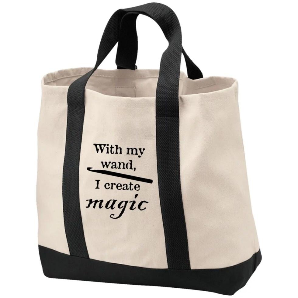 Crochet hook magic wand tote bag