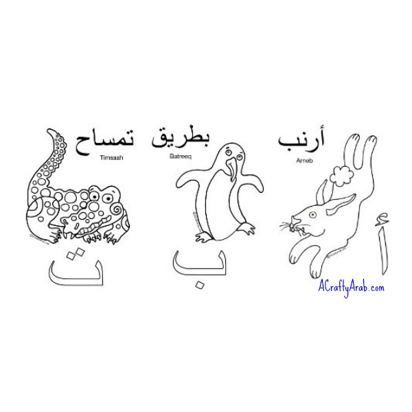 Alif Baa Ta Arabic Alphabet Letters with Animals