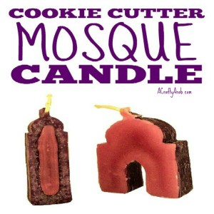 mosque crafts, islam, muslim, children, cookie cutter candle