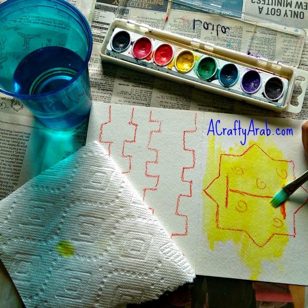 ACraftyArab Crayon Resist Eid Banner7