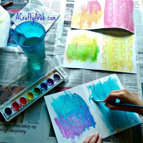 ACraftyArab Crayon Resist Eid Banner8