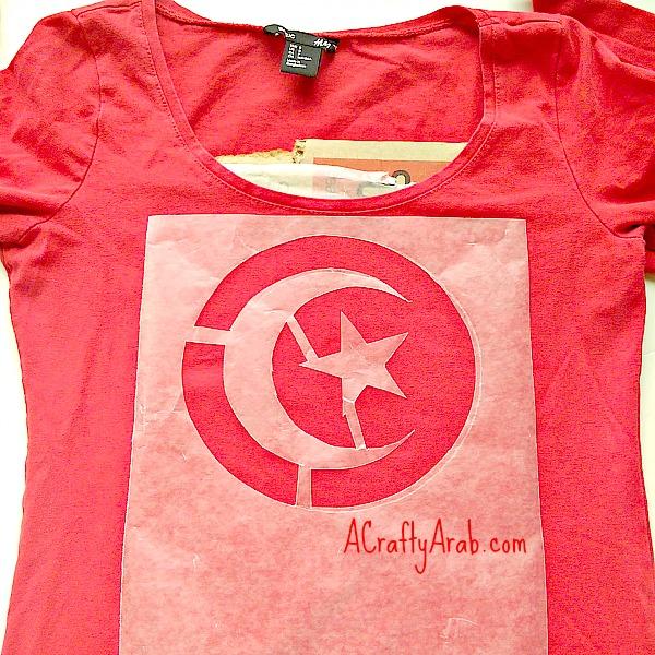 ACraftyArab Tunisian Flag Bleach Tshirt2