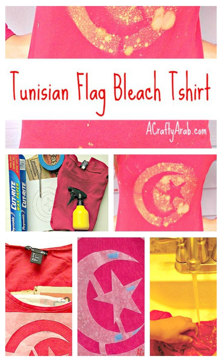 ACraftyArab Tunisian Flag Bleach Tshirt6