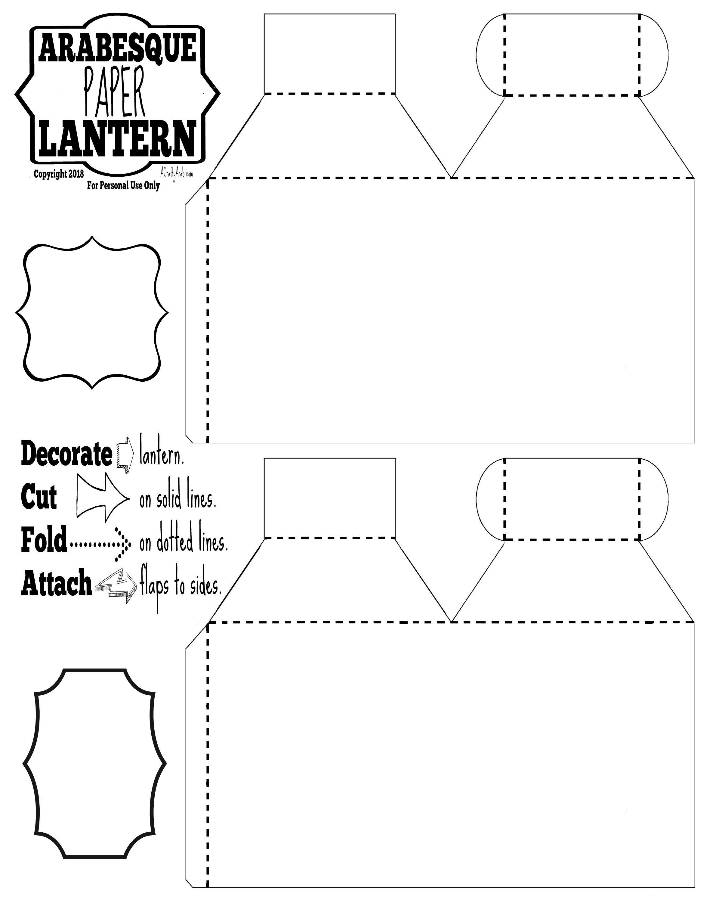 photograph about Lantern Template Printable identify Arabesque Paper Lanterns Printable by means of A Cunning Arab