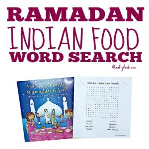 ramadan food, indian, word search, children