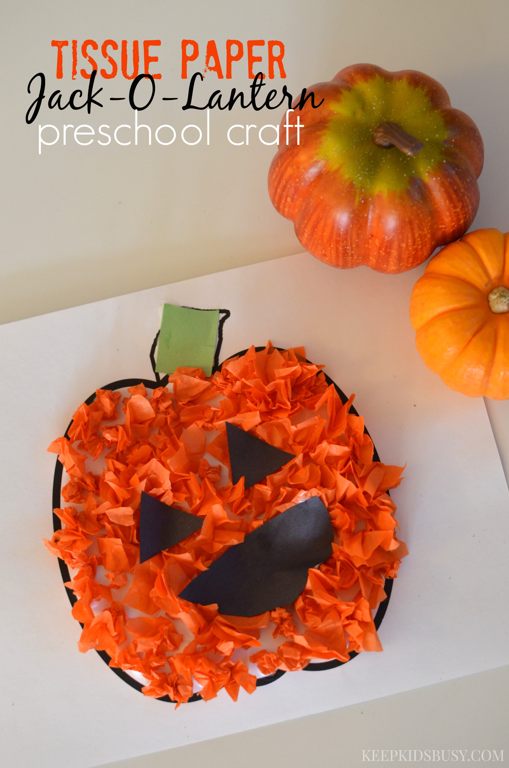 Tissue Paper Jack O Lantern Preschool Craft