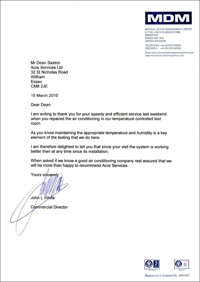 Testimonial from Medical Device Management LTD