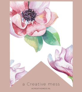 Watercolor Magnolia Bunting Free Printable