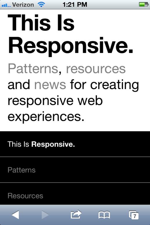 Brad Frost's This is Responsive Website via iphone