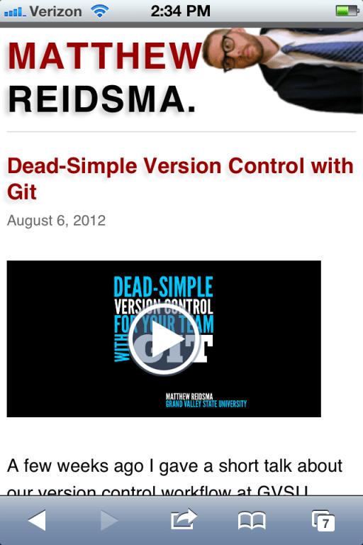 Matthew Reidsma's website via iphone