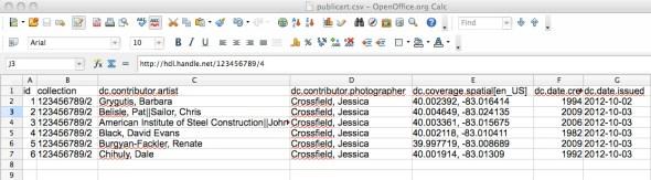 Edited CSV data