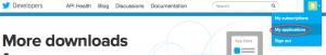 Screenshot of the Twitter Developer Network login screen