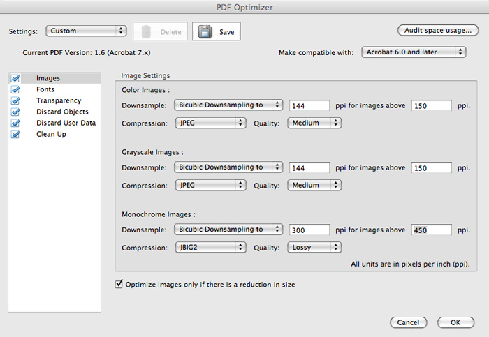 reducing the size of a pdf