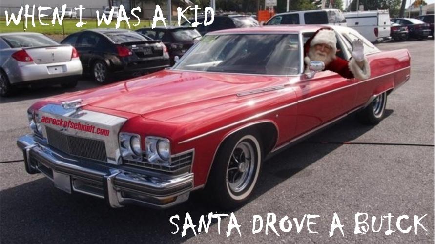 Santa Claus in 1974 Buick Electra Waving