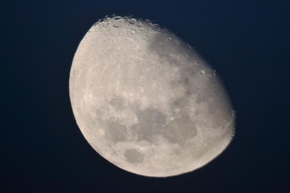 picture of half-moon taken through a telescope