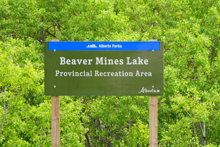 Green campground sign indicating Beaver Mines Lake campground
