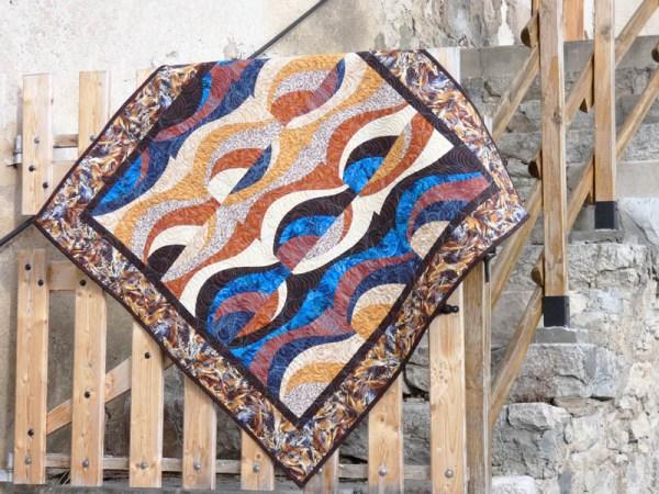 Acropatch-Panneau-mural-Motif-Quilting-TEMPETE-fil-dégradé-bleu