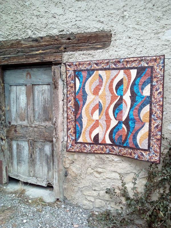 Acropatch-Panneau-mural-Motif-Quilting-TEMPETE-fil-dégradé-bleu-