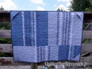 Acropatch-Panneau-mural-Motif-Quilting-LASSO-fil-dégradé-bleu-vue sur l'envers