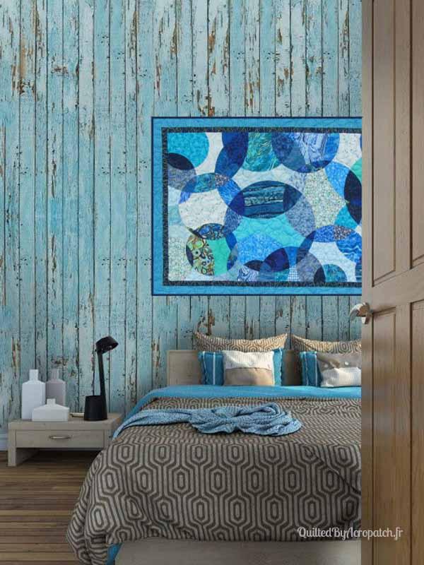 Acropatch-Panneau-mural-Motif-Quilting-LASSO-fil-dégradé-bleu