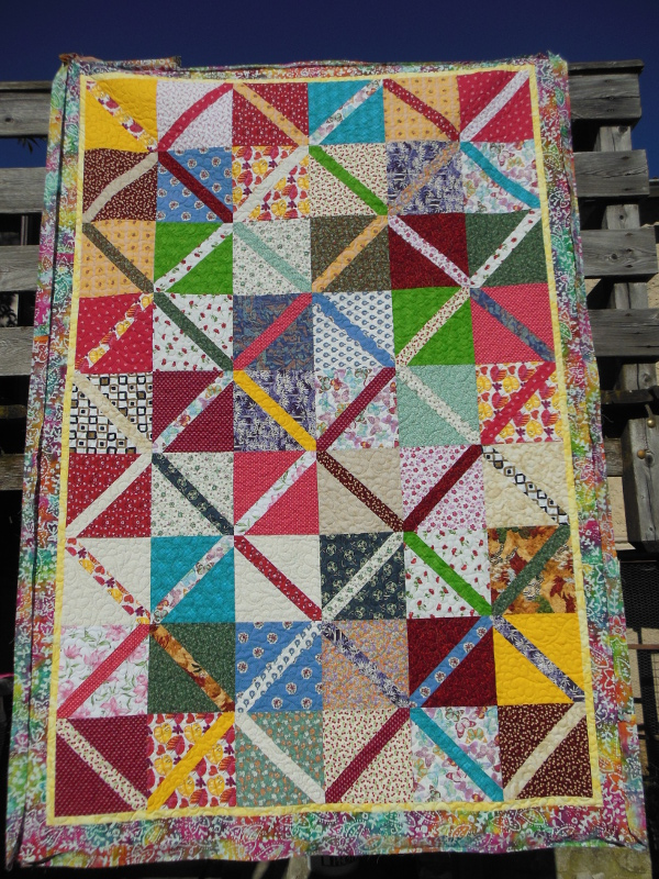 """Couverture-""""Diagonales""""-Motif-Quilting-NUAGE-fil-multicolore"""