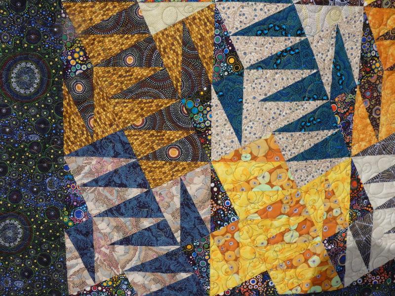Panneau-mural-Aussie dream-Motif-Quilting-BULLE-fil-multicolore-détails des blocs